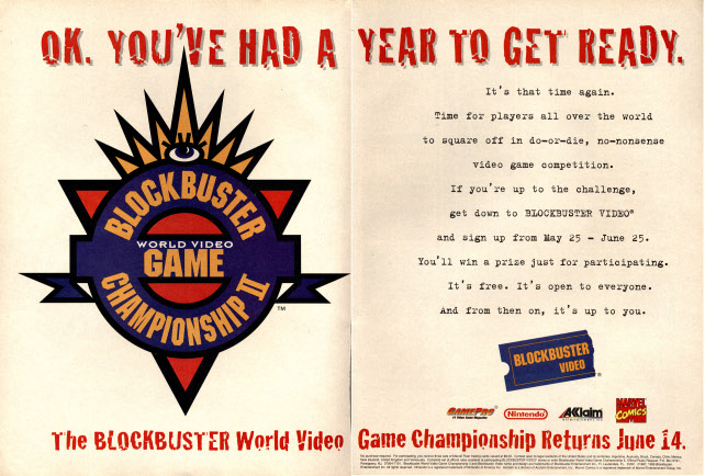 Advertisement for the Blockbuster World Championship II in the June 1995 issue of Gamepro (Scanned by Retromags.com)